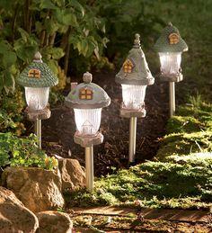 Fairy Garden Gnome Home Solar Path Lights, Set of 4