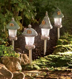 Gnome Home Solar Path Lights | Plow & Hearth garden yard