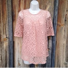 NWT Peach Pink Lace 3/4 Sleeve Blouse Top Size L So chic! Boutique Tops Blouses
