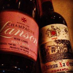 bonded by Maltese cross: creamy Lanson Brut Rosé & still-lush Chateau La Croix (Pomerol) 82 Bordeaux