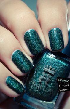 St George - by A England. One of my fav nail polish eve : perfect application, millions of tiny glitters and a gorgeous teal color <3