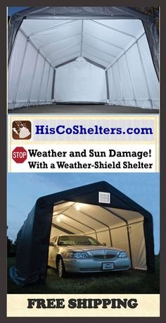 Shelter Logic Portable RV Garage Shelters. **Sizes from 13', 15' Wide and 10', 12', 16' **High at Peak Roof **Heavy Duty - Fully Enclosed **Easy Slide Cross Rail system locks down and squares up covers ** Prices from $997 **Come check out our website explore what we have because there are free shipping both ways you can feel comfortable you are going to get good purchase from us. #garage #carport