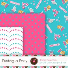Digital Printable Paper Pack and Clipart Girly by Printingaparty