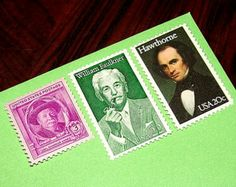 AUTHORS II .. Unused Vintage Postage Stamps .. Enough to mail 5 letters