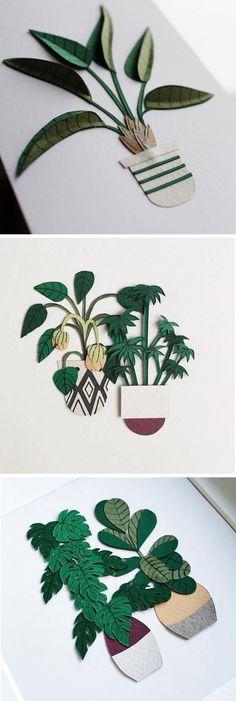 Paper craft cacti by Lissova_craft paper art | paper plants | papercraft plants | cut paper cactus