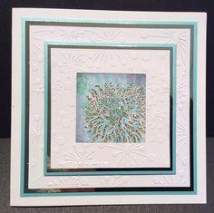 Handmade card by Lisa B. Carnation panel stencil, Sparkle Medium.