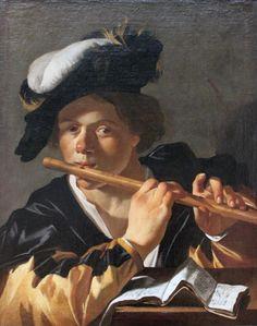Dirck van Baburen The Flute Player Art Print Stock Code : Caravaggio, Utrecht, Dutch Republic, Baroque Painting, Dutch Golden Age, Cleveland Museum Of Art, Dutch Painters, Portraits, Oil On Canvas