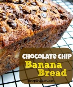 Chocolate Chip Banana Bread: 3-4 bananas, 1/3 cup melted butter, 1 cup sugar, 1 egg, 1 teaspoon baking soda, pinch of salt, 1&1/2 cups flour, 1/4 cup mini chocolate chips, 4 tbsp mini chocolate chips (sprinkle on top) ~ @ 350 for 1 hr