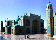 Blue Mosque - Mazar-e Sharif, Afghanistan - In the 15th century Sultan Husayn Mirza Bayqarah built the present Blue Mosque. It is by far the most important landmark in Mazar-i-Sharif and it is considered that the name of city (Noble Shrine, Grave of Sharif) originates from this shrine - Steve Evans