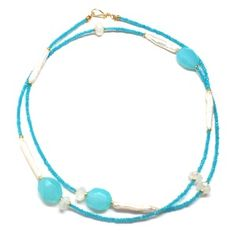 Blue Chalcedony and Pearl Necklace Wrap | Only available at Peyton William. www.peytonwilliam.com
