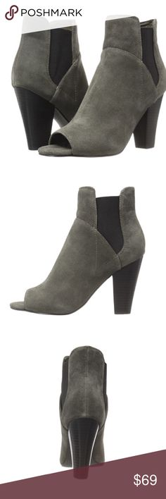 """GUESS BETSY PEEPS SHOE BOOTIE SUEDE LEATHER UPPER. PEEP TOE. ELASTIC GORING PROVIDES EASY GLIDE ON. STACKED BLOCK HEEL. IMPORTED. HEAL HEIGHT 3 1/2"""" SHAFT 6"""".    PERFECT WITH THAT BOHO DRESS FOR THE SUMMER💕I OPEN AND INSPECT EVERY ITEM. I TAKE SEVERAL PHOTOS. NO TRADES PLEASE. Guess Shoes Heeled Boots"""