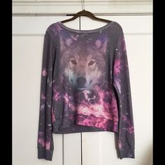 Wildfox Galaxy Wolf Jumper- RARE! Very hard to find, one of my faves. Wildfox Night Wolf baggy beach jumper size small. Fairly true to size - fits kinda like a petite medium . Pre-loved condition , minor fading & typical pilling - But still SO soft and rad as heck. have never put this baby in the dryer since it has been in my possession . Hard to let go of but I know some might be looking for this and I really need to save money right meow. Open to offers, maybe trade (WF only) ask questions…