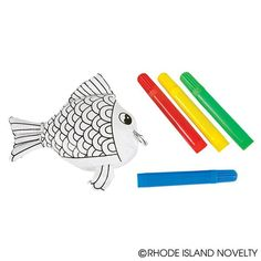 Color in this fish plush and then wash it to create another design! A fun crafts project for kids! Includes four colored markers.