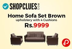 Shopclues #DealofTheDay is offering 55% off on Home Sofa Set Brown upholstery with 4 Cushions at Rs.9999. 1 Five Seater Sofa Set + 4 cushions, Contemporary and Modern Style, Seating Arrangement 3+1+1, Clean upholstery with a damp cloth Care instructions, Living Room Suitable, 1 month Manufacturer Warranty. Shopclues Coupon Code – SCUPGT18669  http://www.paisebachaoindia.com/home-sofa-set-brown-upholstery-with-4-cushions-at-rs-9999-shopclues/