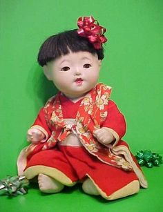 Orig Old Vintage Antique Composition Gofun Oriental Japanese Character Baby Doll. Tamiko bought me a doll exactly like this in China Town San Francisco 1952...I loved that doll.