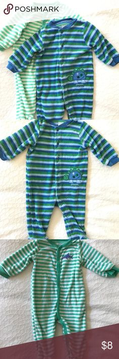 Carter's Soft Terry PJ Bundle Size 6 Months Super soft terry footed, button-up PJs, made even softer from a little washing. No marks or stains. Smoke and pet-free home. Carter's Pajamas Pajama Sets