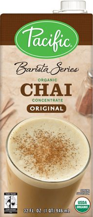 @pacificfoods Organic Chai Concentrate Original handcrafted, premium concentrate starts with brewed, Fair Trade Certified™ organic black tea. It has been combined in small batches with aromatic spices, honey and vanilla to create a full-bodied, slightly sweet flavor profile your guests will love. #FairTrade #Tea #Chai