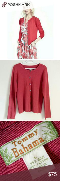 39✂NWOT Tommy Bahama Silk Blend Cardigan ✨NWOT  Retails for $138++tax  ⏩The cardigan is so comfortable, made of 55% pure silk & 45% superfine cotton, so soft & flattering ⏩Beautiful punch pink color, it's very hard to capture how stunning the color is! The deep pink is complimentary on most ❤ ⏩Tightly knitted robust fabric offers plenty of warmth without being shapeless ⏩This super luscious cardigan will make you feel like a million. It feels so luxurious on!  ⏩I'm parting with it only…