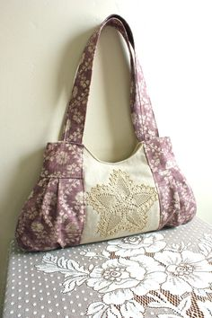 Lilac /Rose Floral Minerva PurseREADY by cindymars7 on Etsy, $54.00