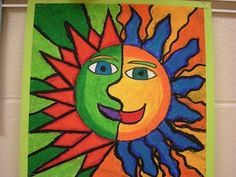 Aztec Sun art project for kids ..mounted these on black paper! They looked lovely and the kids were so proud!