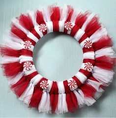 Peppermint tulle wreath