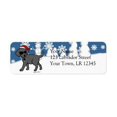 Cool Black Lab Cartoon Christmas Return Address Label by Naomi Ochiai