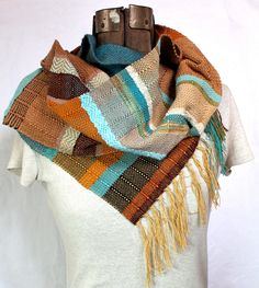 Sedona- Earthy Peacock and Turquoise Handwoven Scarf. Southwest Woven Accessory.. $88.00, via Etsy.