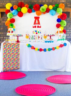 Accordian paper balls and big wooden letter as centerpiece Ball Theme Birthday, Bouncy Ball Birthday, Ball Theme Party, Abc Birthday Parties, Bounce House Birthday, Colorful Birthday Party, Rainbow Birthday, 1st Boy Birthday, Trampoline Birthday Party