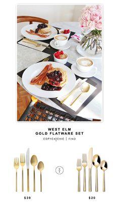 @westelm Gold Flatware Set (5 pieces) $39 vs Target Threshold Izon Flatware set (5 pieces) $20 | Copy Cat Chic look for less budget home decor and design