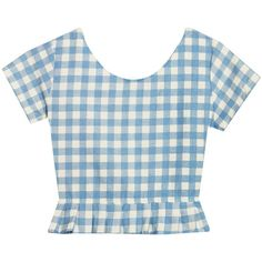 Bonne Chance Collections Zooey Gingham Top (57 BGN) ❤ liked on Polyvore featuring tops, shirts, crop tops, t-shirts, crop top, blue gingham shirt, gingham check shirt, zooey and blue shirt