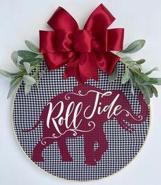 Alabama Door Hanger, Alabama Wreaths, New Homeowner Gift, University Of Alabama, Newlywed Gifts, School Gifts, Wired Ribbon, Roll Tide, Front Door Decor