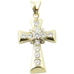 For Sale on - Vintage 14 Karat Yellow Gold Diamond Cross Pendant This sparkling cross pendant features 25 round brilliant cut diamonds set in classic yellow gold. Diamond Pendant Necklace, Pendant Jewelry, Gemstone Jewelry, Diamond Cross, Religious Jewelry, Turquoise Pendant, Cross Pendant, Colored Diamonds, Yellow