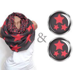 Loop Sterne ♥ pink + Ohrringe von Faitly auf DaWanda.com