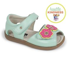 See Kai Run – Tinley in Mint. Cheerful flowers bloom on our new leather sandal. 10% of the proceeds from this shoe will go to Peach's Neet Feet to support children with severe illness or disabilities.