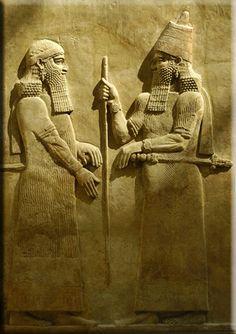 Assyrian King Sargon ii and his crown prince Sennacherib