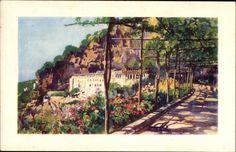 Artist Postcard Amalfi Campania, La Terrazza dei Cappuccini, Terrassengang,