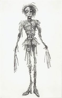 Tim Burton's concept art for 'Edward Scissorhands'.