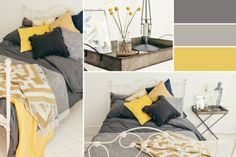 Bedroom ideas yellow grey spare room Ideas for 2019 Mustard And Grey Bedroom, Yellow Gray Bedroom, Yellow Bed, Grey Yellow, Ochre Bedroom, Home Bedroom, Bedroom Ideas, Romantic Bedroom Decor, Trendy Bedroom