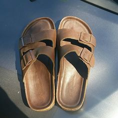 """Abercrombie """"Birks"""" Chocolate brown.  Hardly worn.  Little pen marks on strap of left shoe on the inside side.  Hardly noticeable on the dark brown.  Size 9. Birkenstock Shoes Sandals"""
