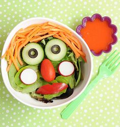 Get your kiddos to eat their veggies with this silly salad!