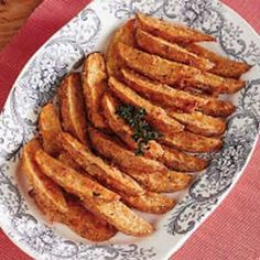 Oven baked potato wedges... with some sort of sour cream and chive dip.