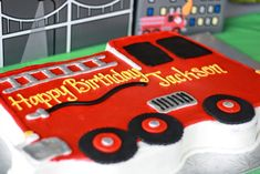 It's a five-alarm birthday celebration! For her son's third birthday, Emily of Magnolia Creative Co. hosted this wonderfully fun firefighter birthday party (with a. Birthday Cake Delivery, Truck Birthday Cakes, Birthday Fun, Birthday Party Themes, Birthday Ideas, Truck Cakes, Birthday Sayings, Birthday Images, Birthday Greetings