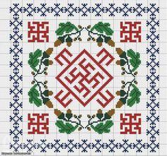 słowiański haft-talizman.. dla kobiet haftowany w rosnącym księżycu ułatwiał zajście w ciąże. chronił przed chorobami kobiecymi.