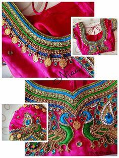 Silk Saree Blouse Designs, Bridal Blouse Designs, Blouse Neck Designs, Blouse Patterns, Sleeve Designs, Magam Work Blouses, Maggam Work Designs, Stylish Blouse Design, Designer Silk Sarees