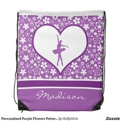 Personalized Purple Flowers Pattern Ballet Dancer Drawstring Backpack by Golly Girls