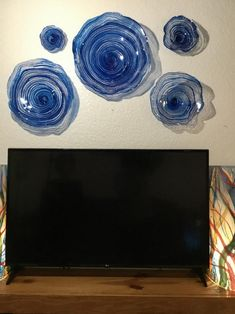 Vibrant Cobalt Blue flowers wall art home decor translucent plastic/wall mount/ handmade window hanging indoor outdoor looks like glass All You Need Is, Garden Posts, Window Hanging, Glass Wall Art, Ocean Art, Blue Walls, Outdoor Walls, Glass Design, Flower Wall