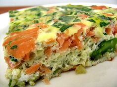 Salmon & Dill Frittata.  Get the full recipe here: http://cleananddelicious.com/2008/05/31/salmon_and_dill_frittata/