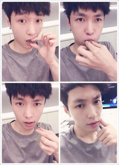 Lay <<< this is the one who claims to have no aegyo because he's manly