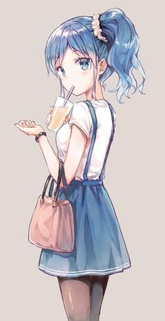 Image de anime, anime girl, and blue hair