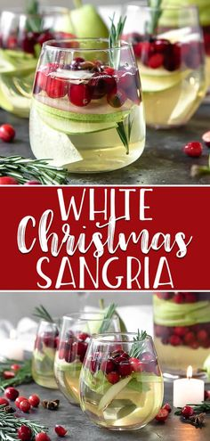 holiday cocktails Youll be dreaming about this White Christmas Sangria long after the holidays have come to an end! White wine, ginger beer, pear brandy, and some festive red and green fruit are all you need for this jolly holiday cocktail. Winter Sangria, Holiday Sangria, Holiday Cocktails, White Christmas Sangria Recipe, Wine Cocktails, Winter Drinks, Cocktail Drinks, Christmas Brunch, Christmas Baking